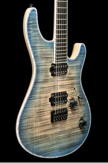Regius 6 4A Flamed Maple Trans Black Jeans Blue Burst