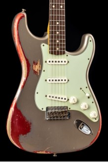 1960 Stratocaster Heavy Relic Shoreline Gold Over Candy Apple Red